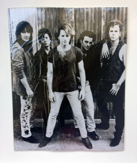 "10 x 8"" Black & White photo of Bon Jovi circa Keep the Faith era."