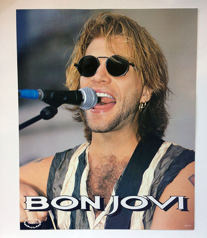 30cm x 24cm postcard-thickness photo of Jon Bon Jovi at Jon & Richie's Covent Garden Busking Session, 1994