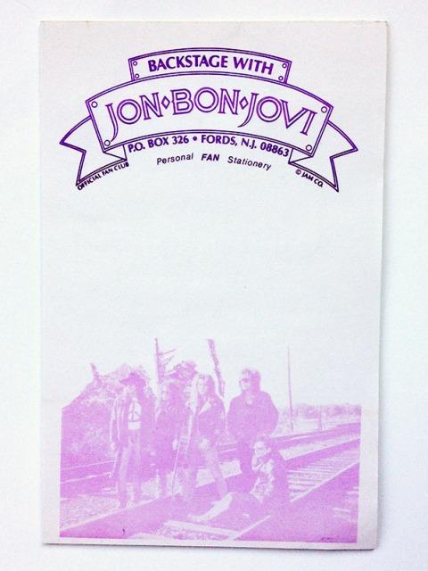 RARE Bon Jovi Fanclub Notepad