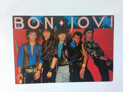 "French 6 x 4"" Postcard Bon Jovi from ""You Give Love a Bad Name"" Photo Shoot, Slippery When Wet"