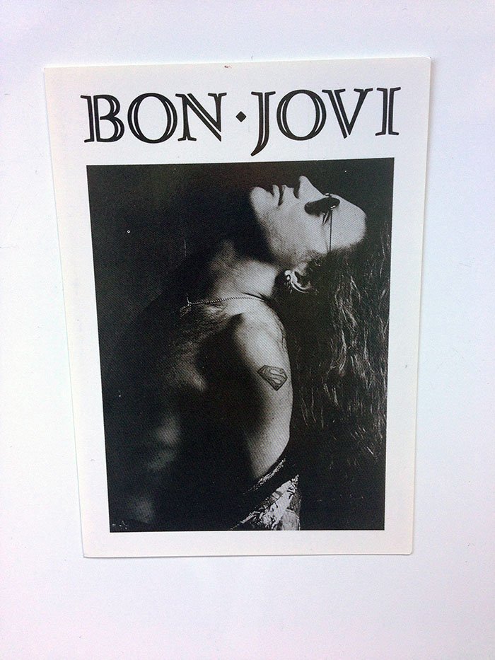 "6 x 4"" Postcard ft. iconic Black & White shot of Jon Bon Jovi with long hair and Superman Tat, circa New Jersey era"