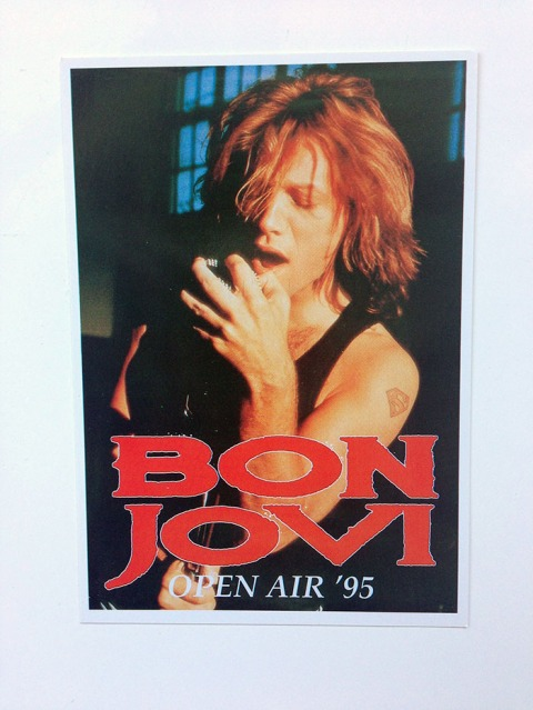 "6 x 4"" Postcard of Jon Bon Jovi with microphone ""Open Air '95"""