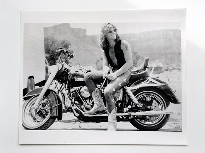 Official PR photo of Jon Bon Jovi on Harley Davidson - August 1990