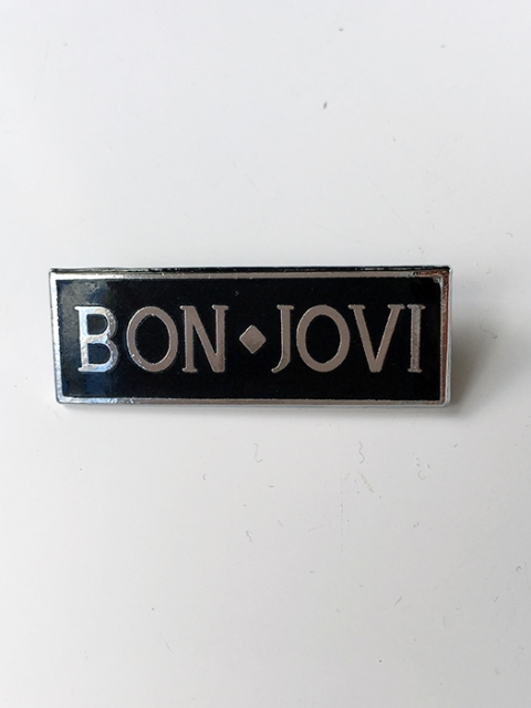 Black and Silver Bon Jovi Metal Lapel Pin - www.bonjovisale.com