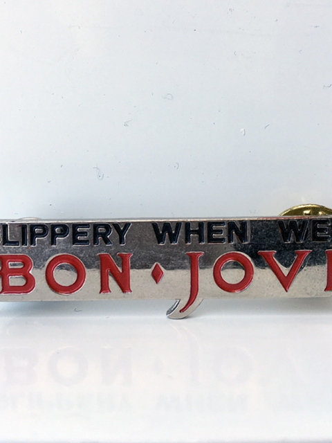 Bon Jovi Slippery When Wet Metal Pin - www.bonjovisale.com
