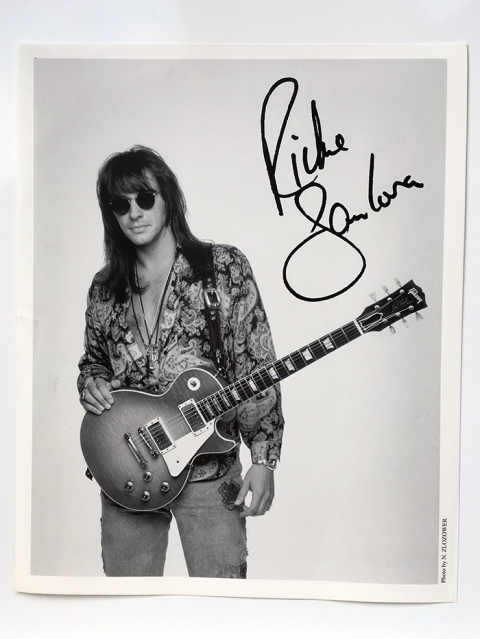 Richie Sambora of Bon Jovi studio shot with Gibson guitar and autograph