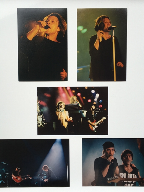 Exclusive photographs of Bon Jovi on stage at Wembley Arena 14th May 1993, taken by photographer Pete Still for The Concert Photo Co. England.