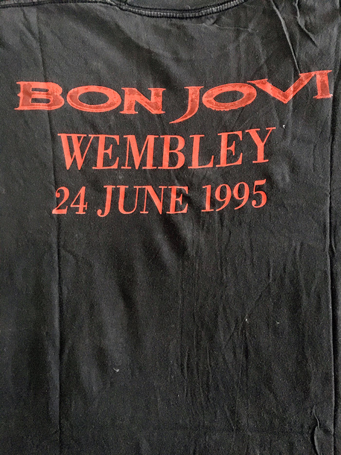 Bon Jovi Mega Rare Official UK Tour T'Shirt from CrossRoad Tour, 24 June 1995, Wembley Stadium