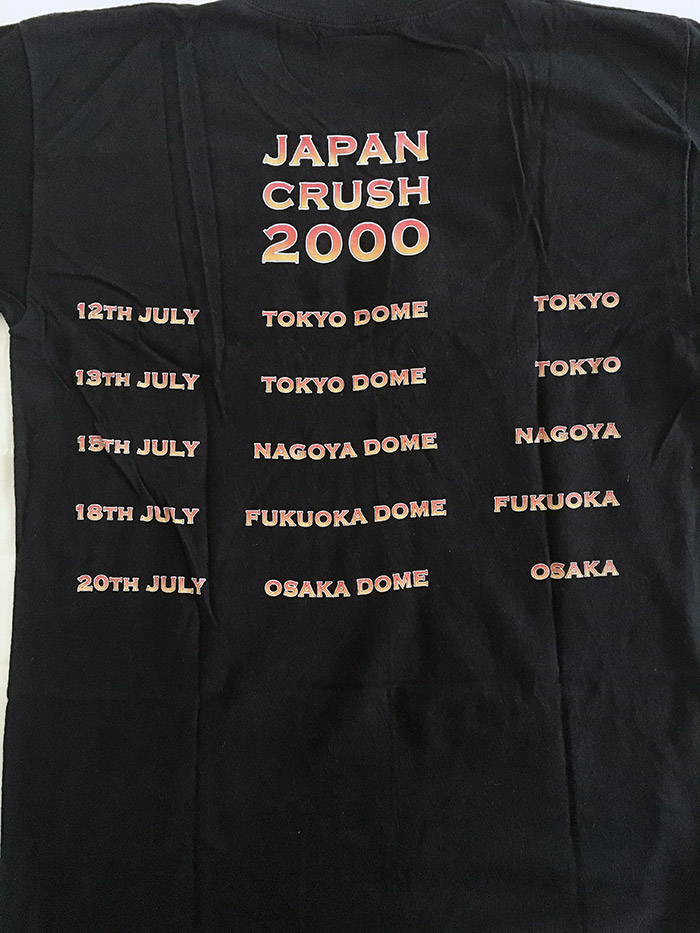 Very Rare Official Bon Jovi Japan Tour T'Shirt from Crush Tour, July 2000