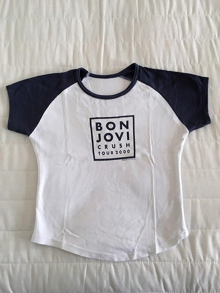 Ladies' Grey and White official Tour T'shirt from Bon Jovi's Crush UK Tour, August 2000