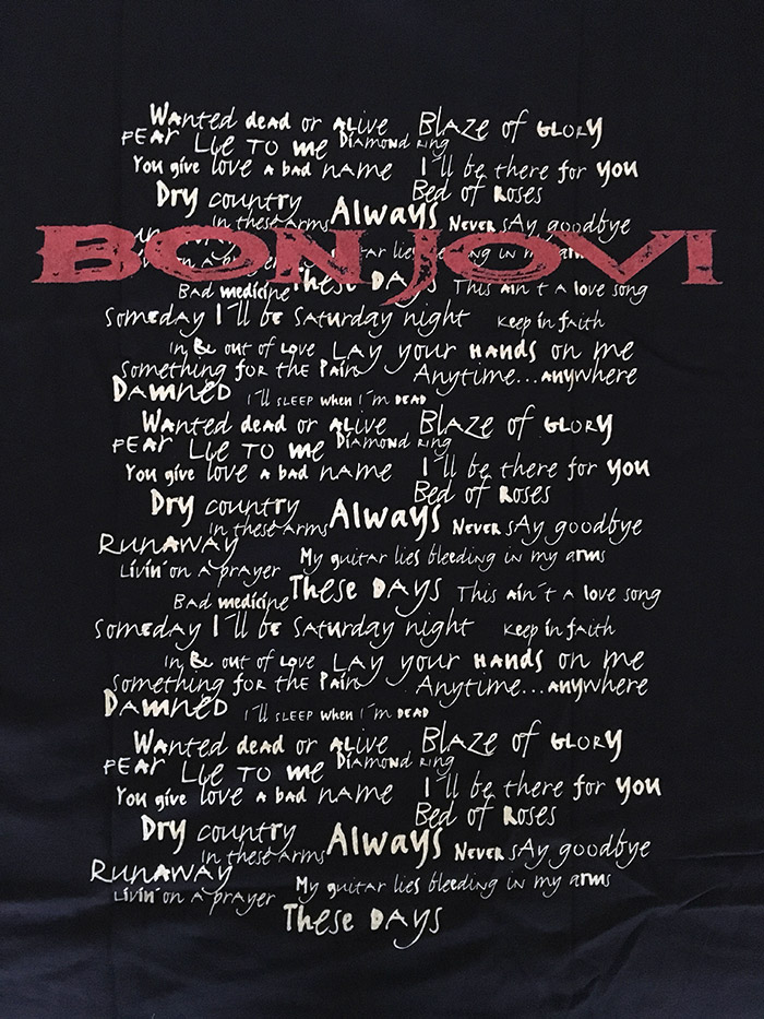 Bon Jovi European Tour T'Shirt from These Days  Tour sponsored by Volkswagen, 1996.